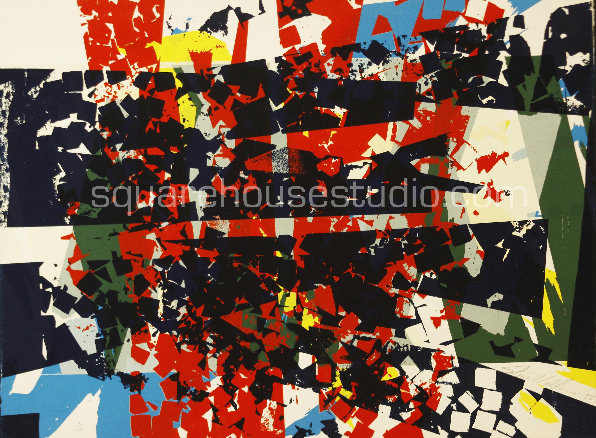 """Shattered Squares , 22"""" x 32,"""" original edition, $625 framed / $475 unframed, Available as giclée print—$450 framed / $300 unframed"""