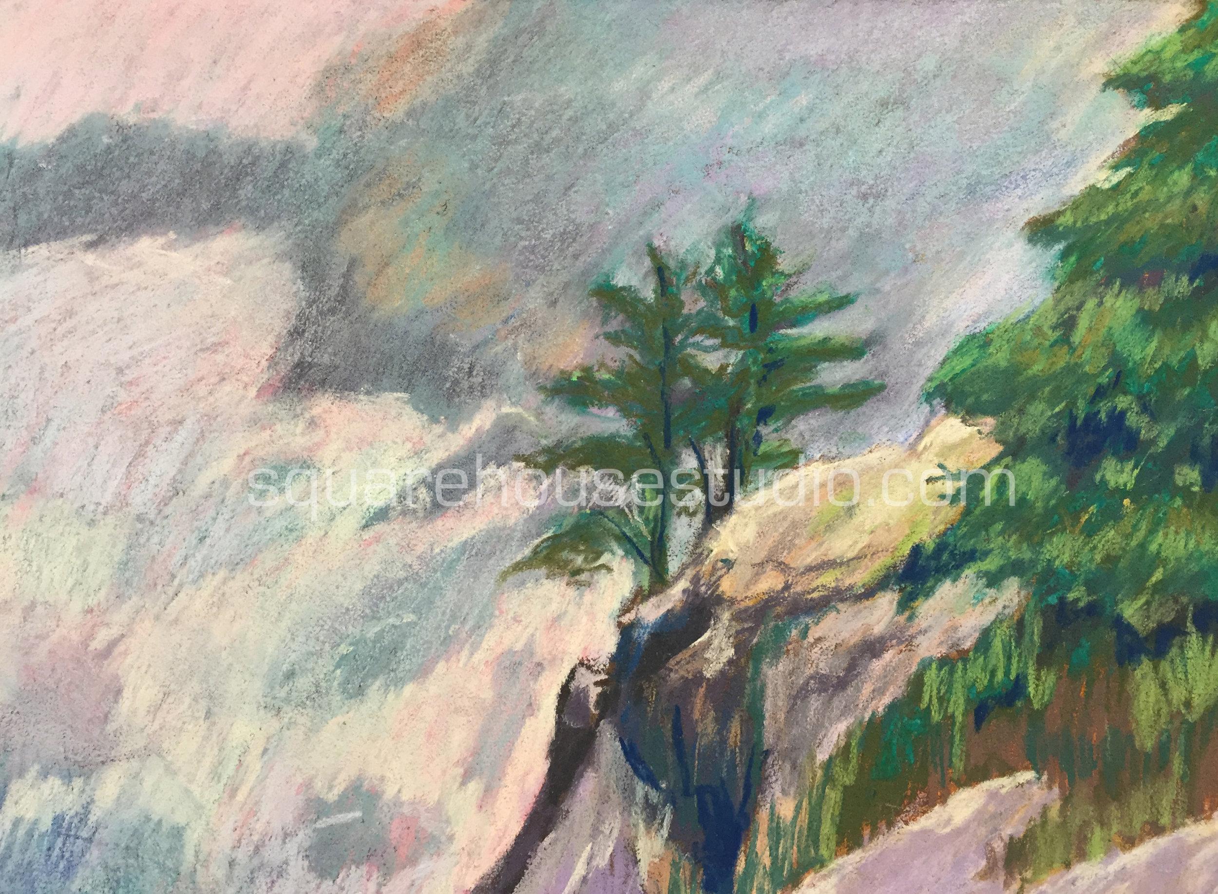 "Monhegan Cliffs , 11"" x 14"" $400, Available as a giclée print —$125 Framed / $70 unframed"