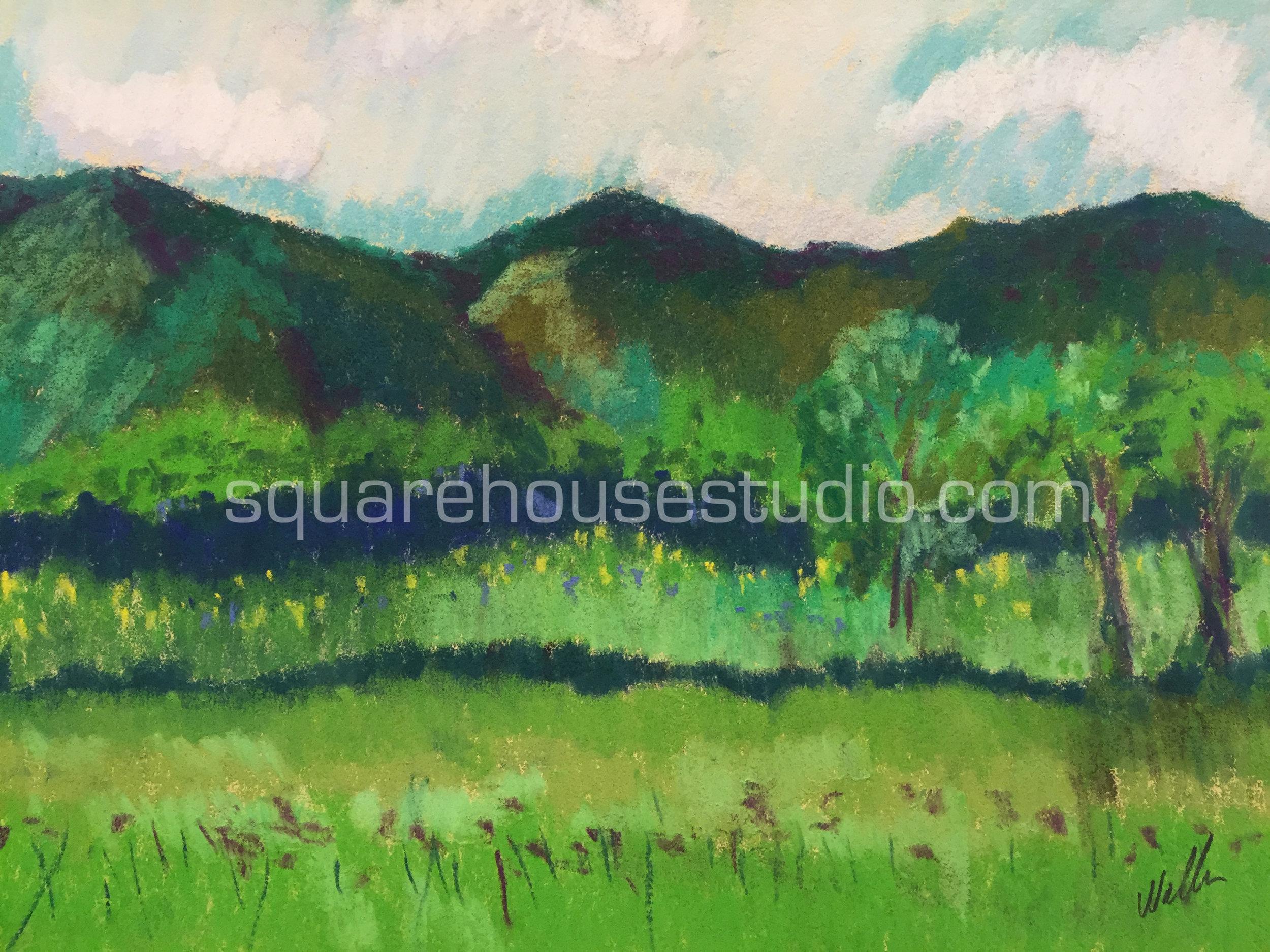 "Elkins Countryside , 11"" x 14"" $400, Available as a giclée print —$125 Framed / $70 unframed"