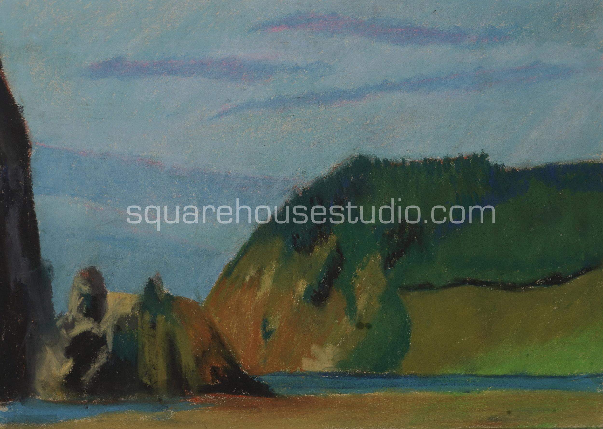 """Beach View , 16"""" x 19"""" $400, Available as a giclée print —$125 Framed / $70 unframed"""