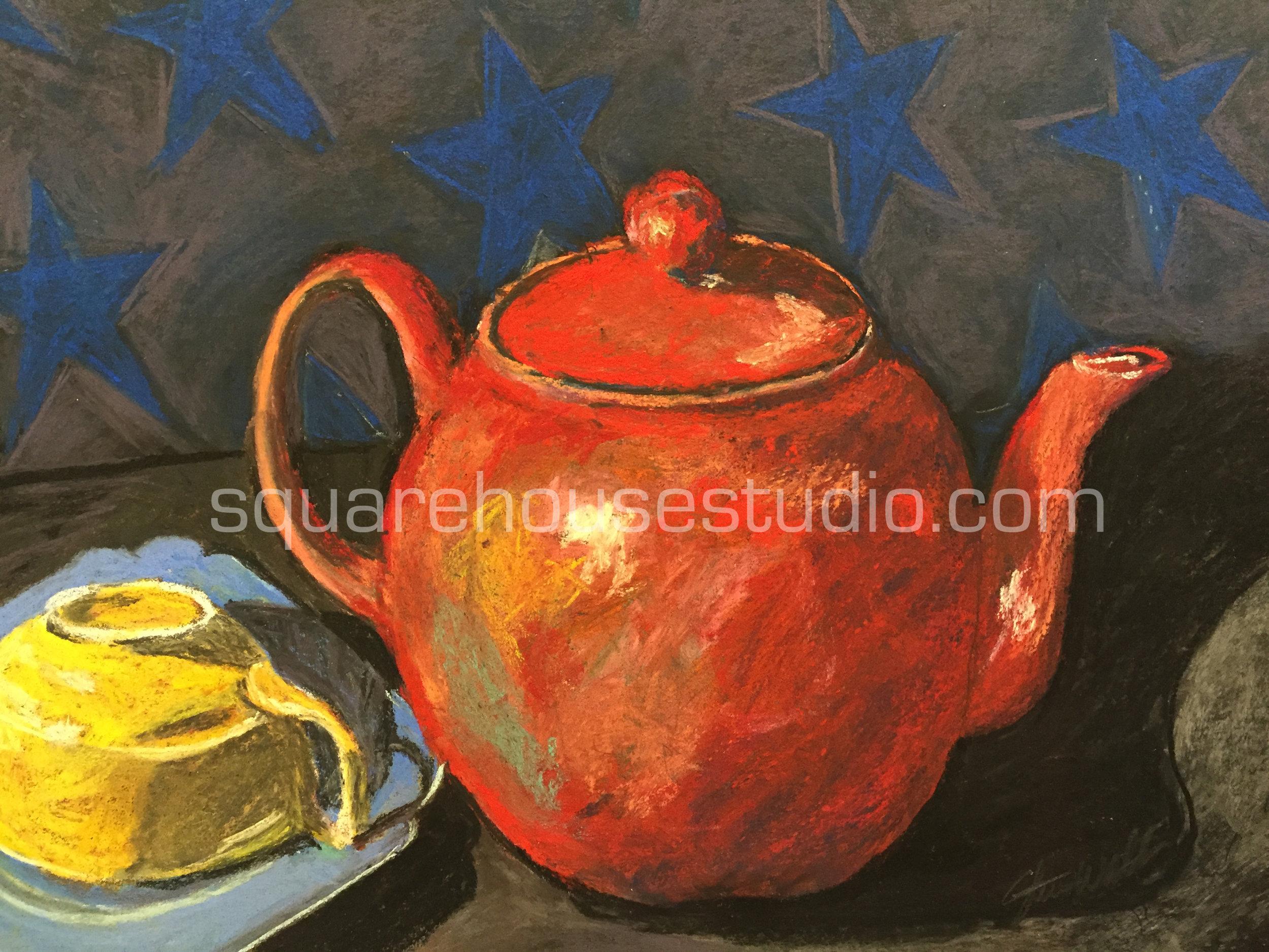 """American Tea , 11"""" x 14,"""" $400, Available as a giclée print—$125 Framed / $70 unframed"""