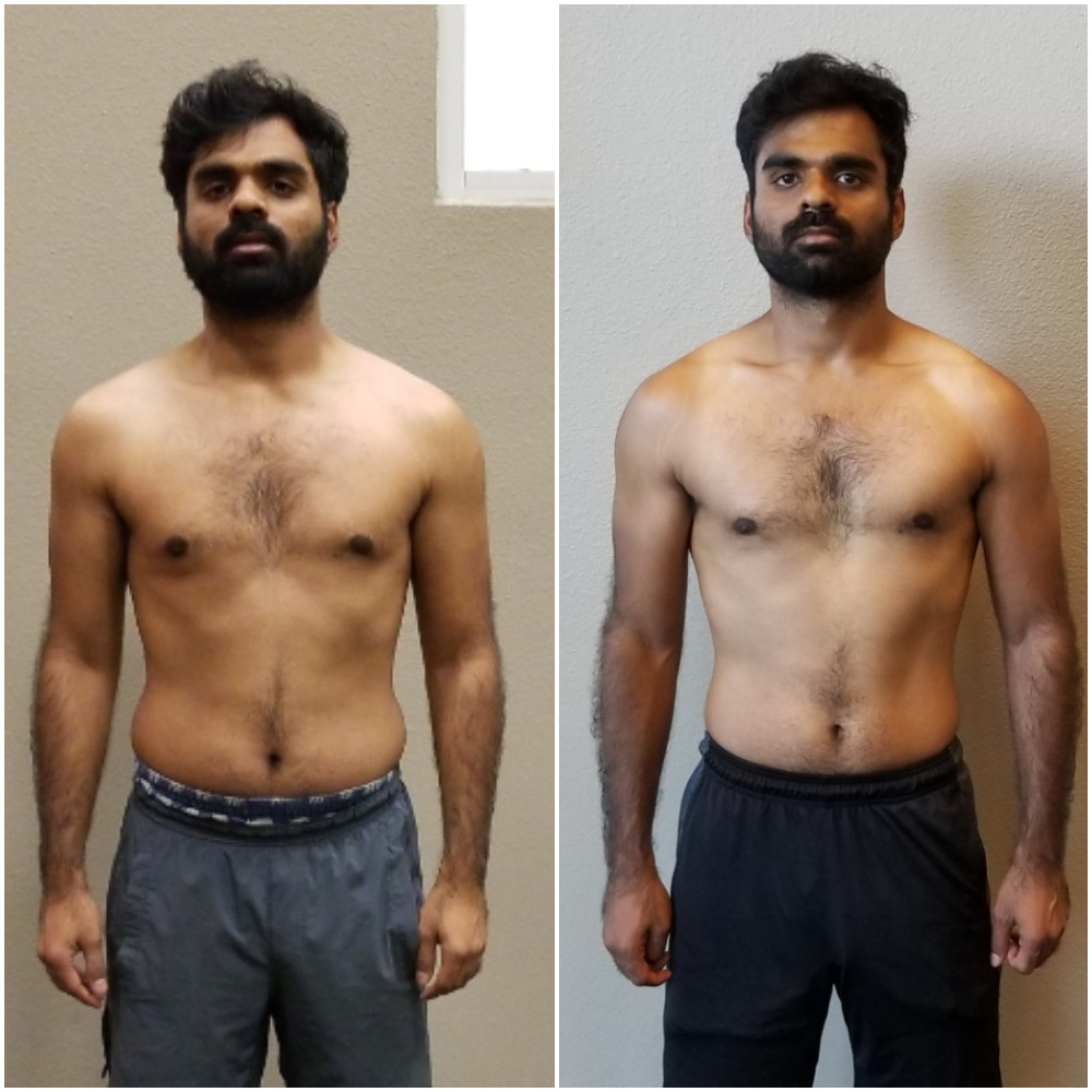 Krishna - We lost the before picture from when he started but Krishna continued to strive for great changes. He lost over 30+lbs in the time he was with us.Krishna was doing 2 days per week in the group fitness classes before we met. He was very unhappy with the progress but was unwilling to change at first. It some time but when he finally got started with us, he was surprised at the results.