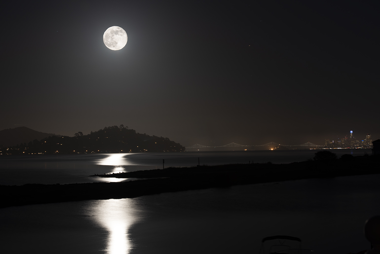 Full moonrise over San Francisco Bey
