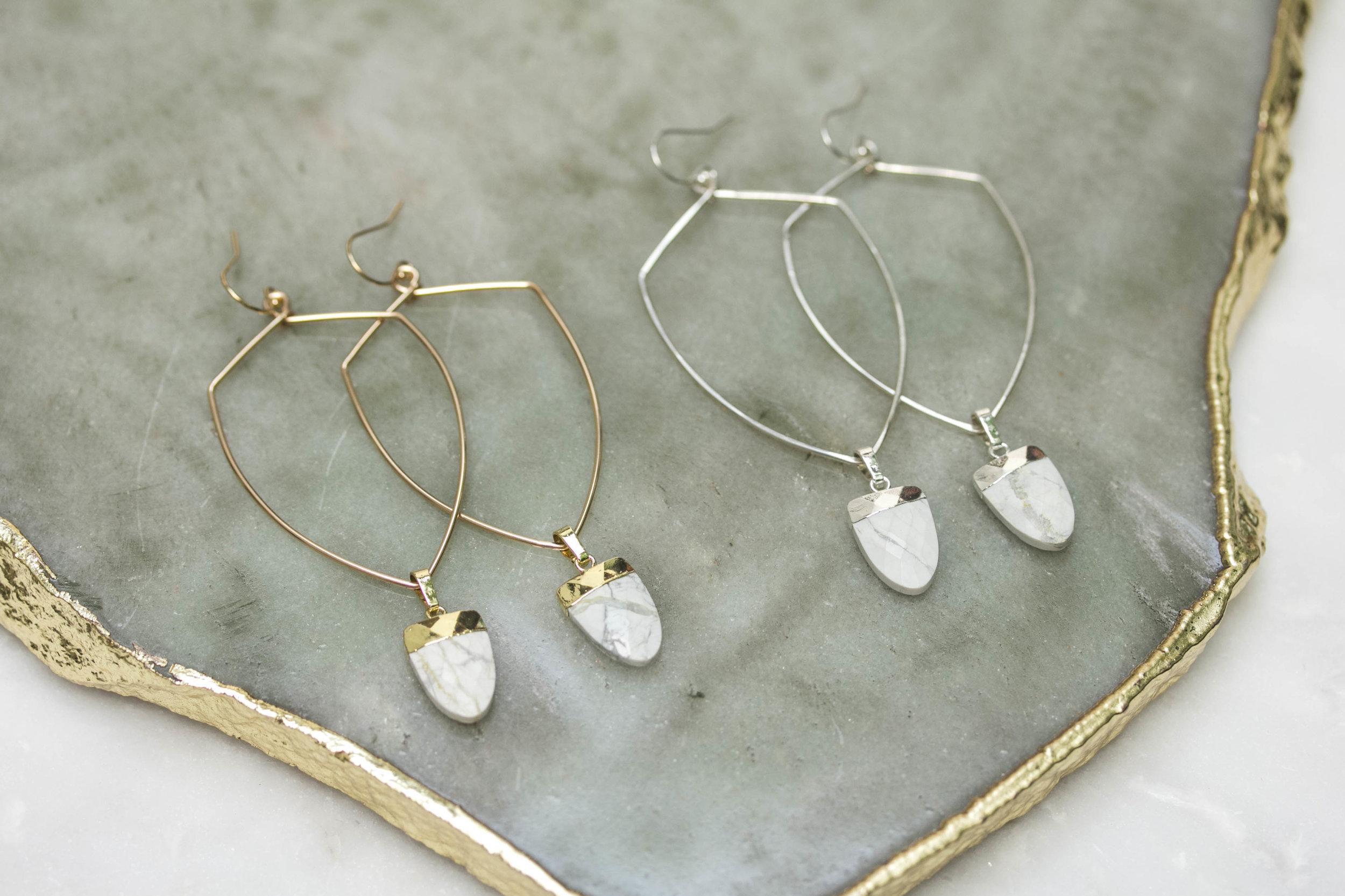 White Howlite Shield Hoop Earrings_Rach B Jewelry