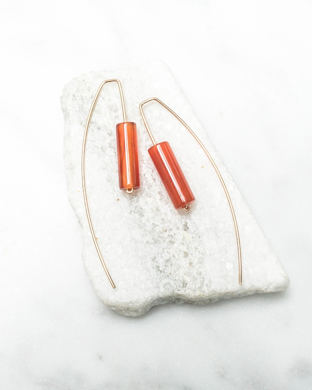 Carnelian Threader Earrings  $45