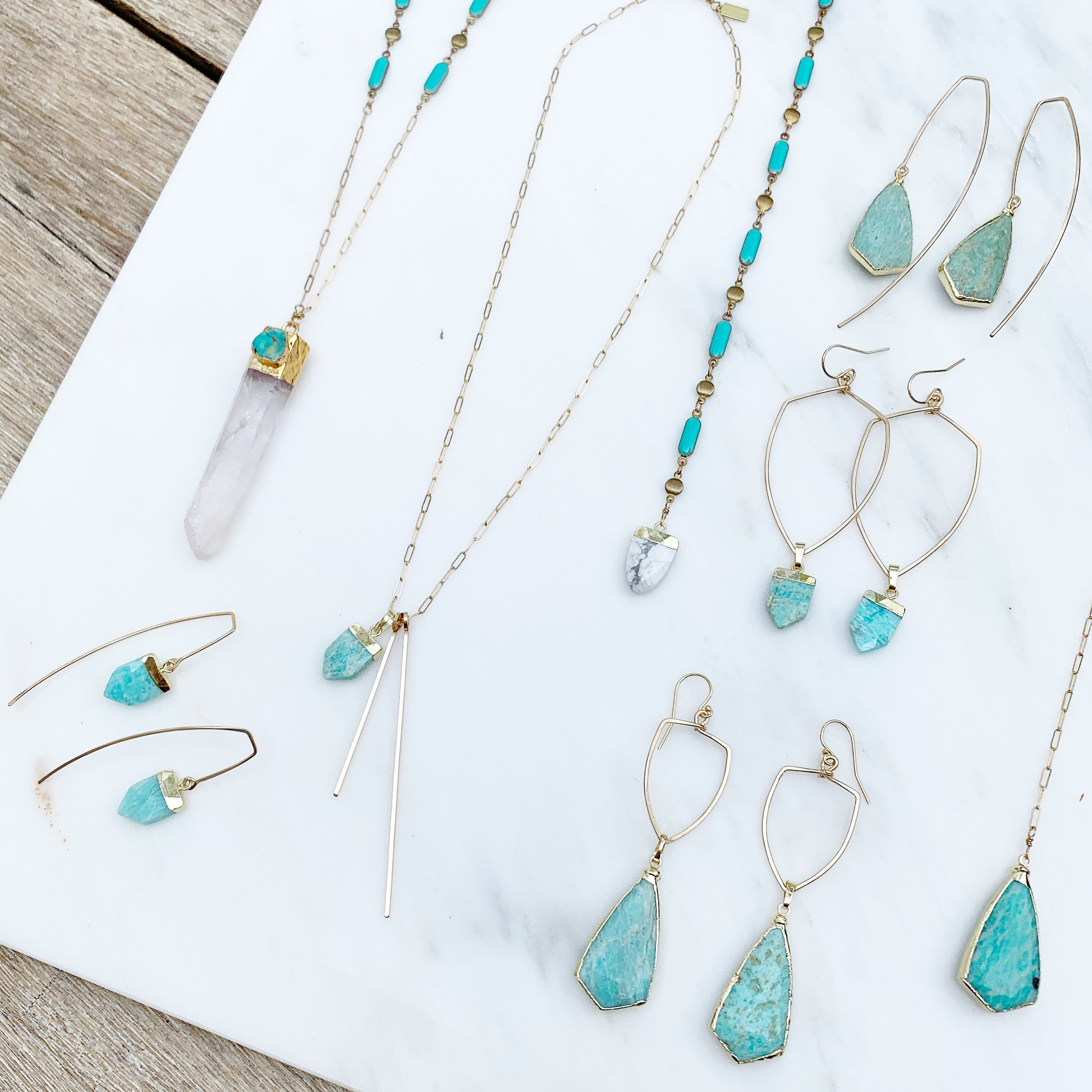 Amazonite jewelry of the SHIELD collection  $34-$135