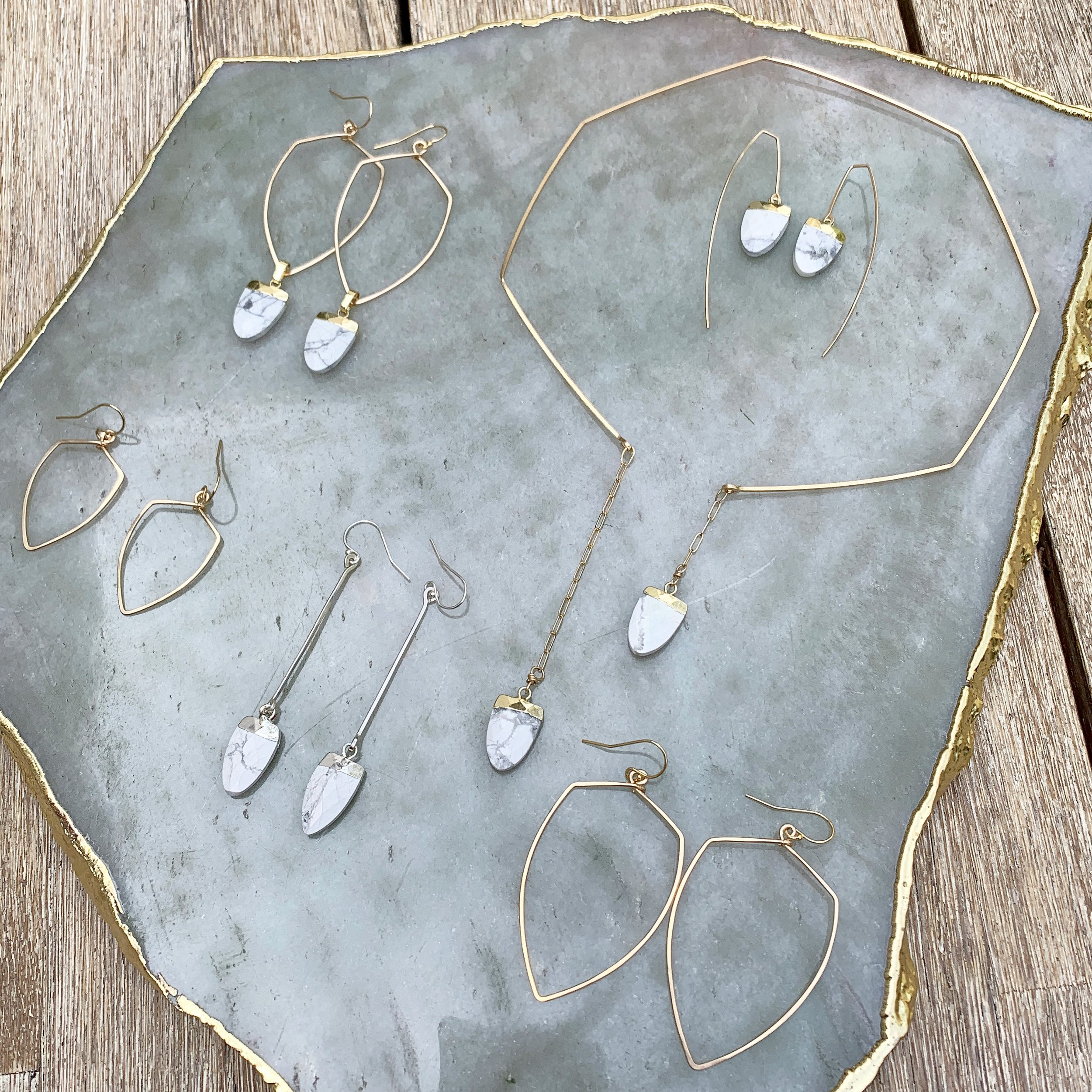 Howlite jewelry of the SHIELD collection  $35-$135
