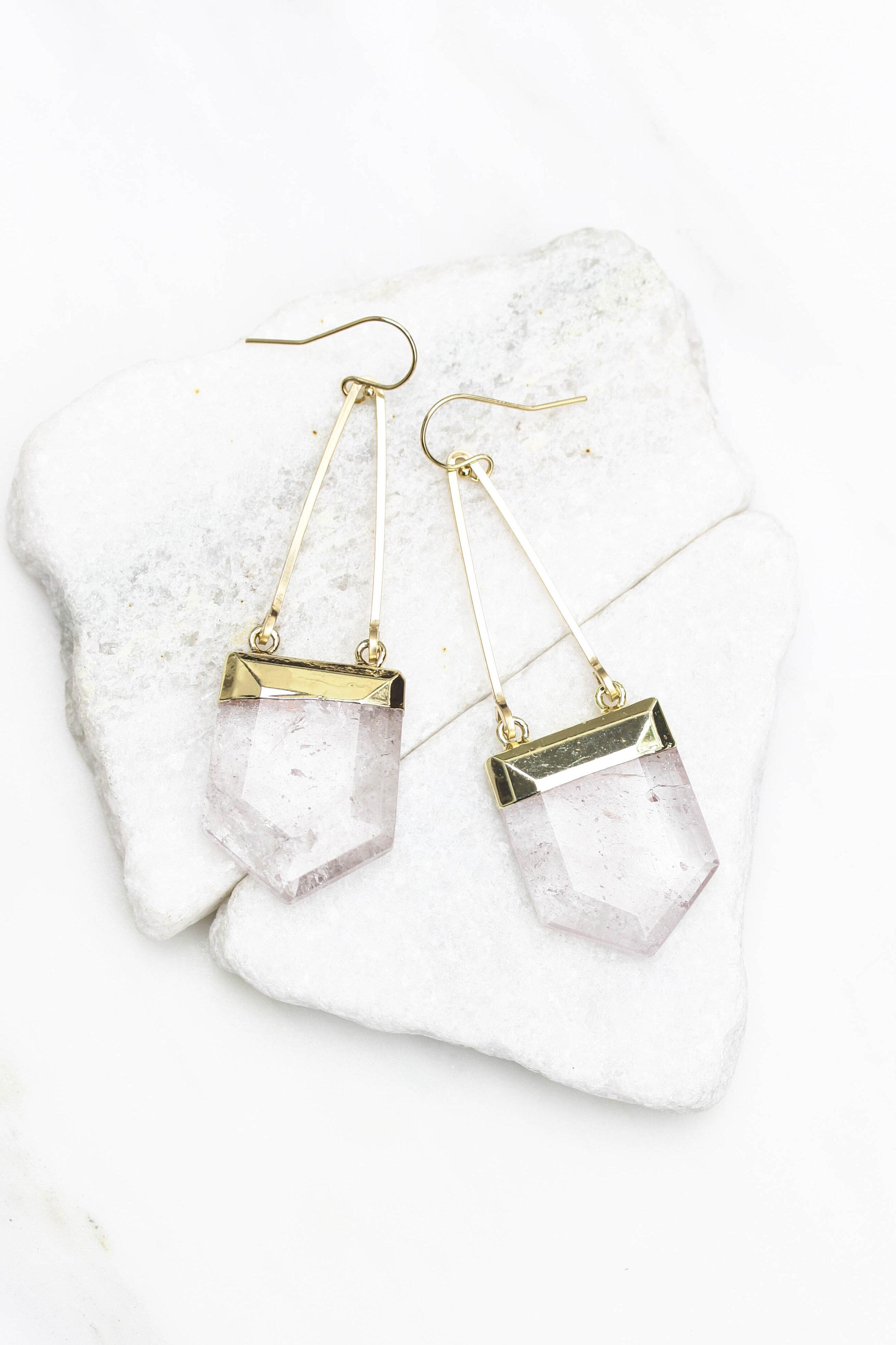 Rock crystal prism earrings