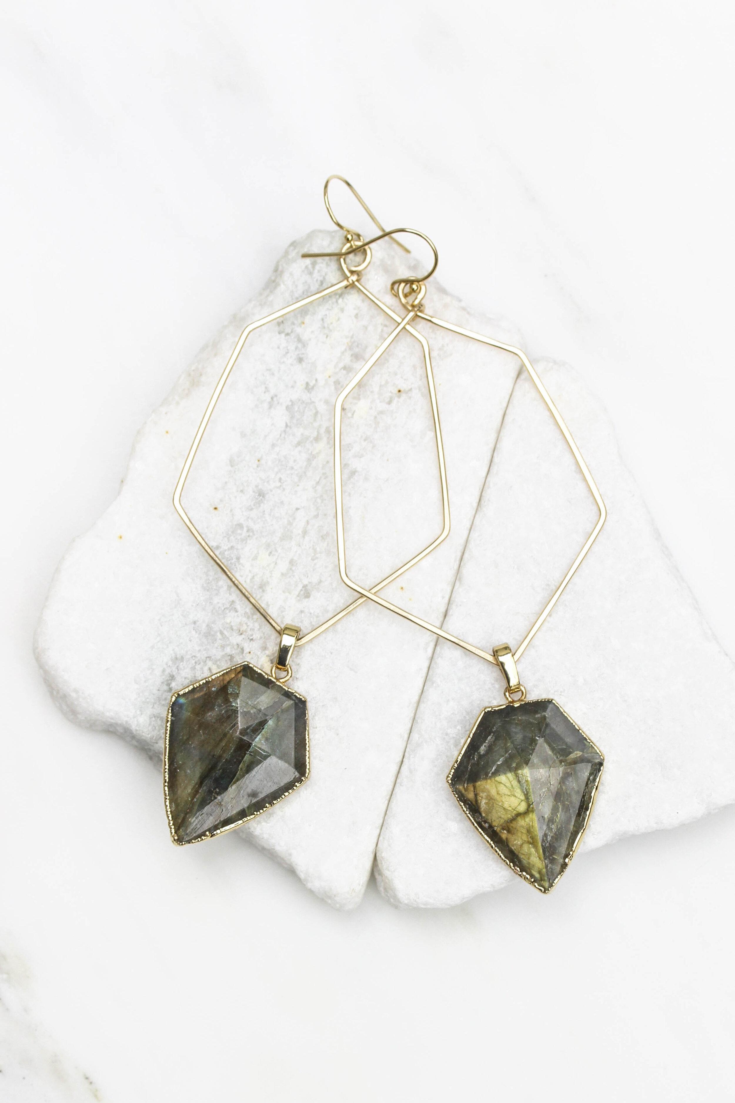 Labradorite hoop prism earrings