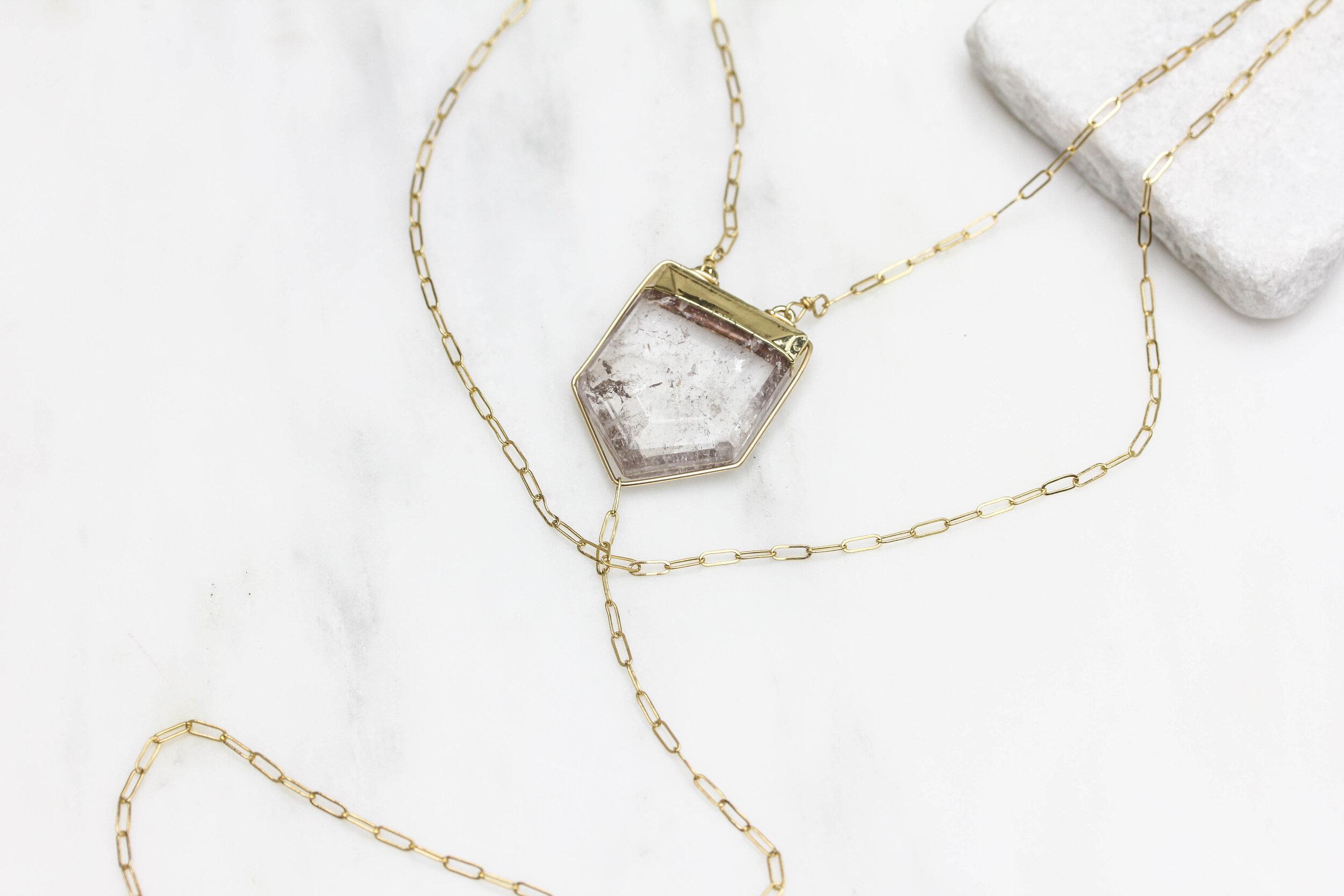 """Rock crystal prism double layer """"y"""" necklace"""