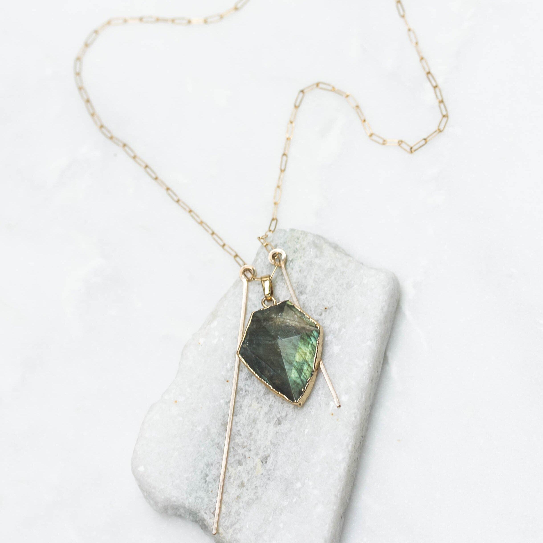 Labradorite prism stone double bar necklace