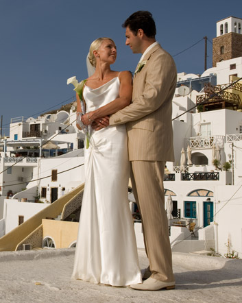 Bridget & Daniel<br>Married in Santorini in the Greek Islands, September, 2006