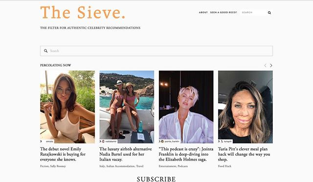 After having a baby (and a bit of a hiatus bookstagramming), I've also been working on my digital baby (less poo, but not as cute). It's called The Sieve: a website for all the perv-worthy celebrity recommendations that live online. - Not teeth whiteners from reality contestants but books! Docos! Restaurants! Life hacks! Genuine recommendations you can browse through when you're after inspiration. Unlike Maggie, she is very much in the fetal stage. But hopefully with some love and patience, she too, will grow and flourish. If you fancy checking it out, the link is in my bio.
