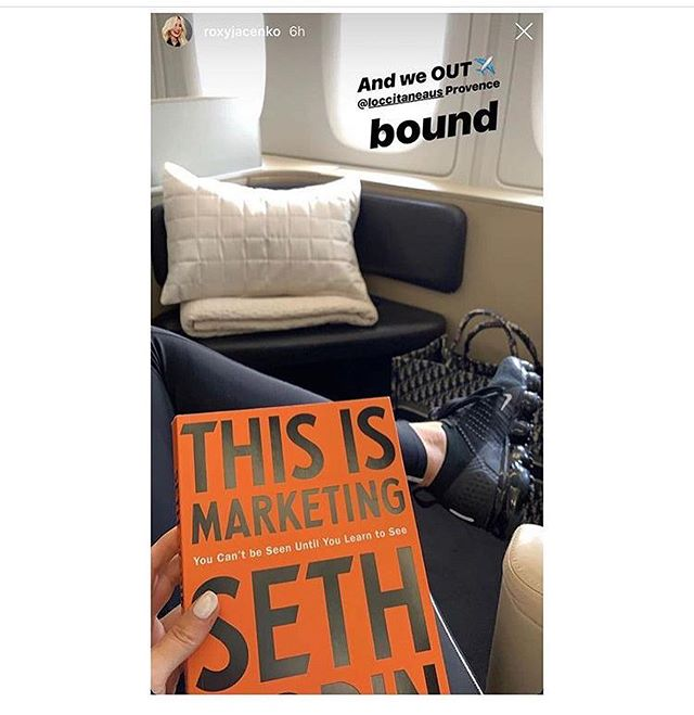 """This is @roxyjacenko's current inflight read. It's a marketing masterclass from @sethgodin, the clever guy @zotheysay calls her """"business yoda."""" ZFB speaks very highly of his podcasts, too. . Listen and read, me thinks I shall. (Sorry). . Ps: I post celeb recommendations (books, etc) on my other page @the.sieve.recommends if you like that kind of thing."""