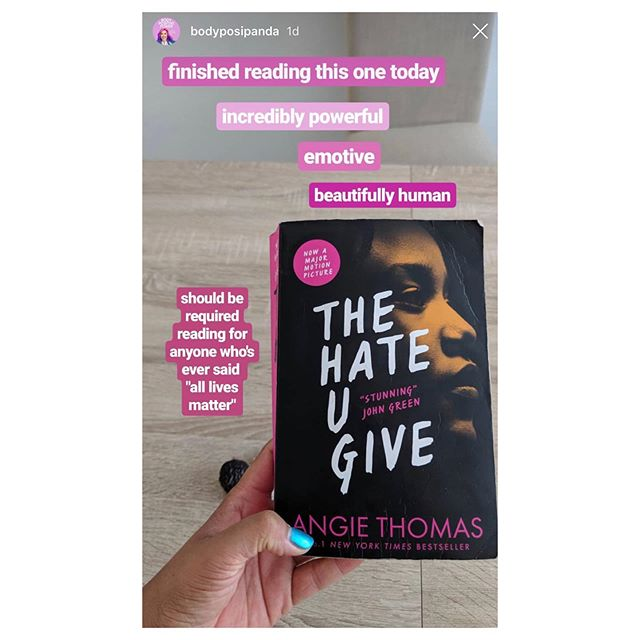 @bodyposipanda reckons the young adult novel The Hate U Give (THUG) should be required reading. It's inspired by the Black Lives Matter movement and follows Starr, a 16yo black girl who witnesses the fatal shooting of her childhood friend at the hands of a police officer. She navigates the fallout while straddling two worlds: the poor, mostly black neighbourhood where she lives and her wealthy, mostly white prep school. Yes, it's YA but really, it's just a very important book with a young protagonist . And it's also a film! With a 97% Rotten Tomatoes (critics) rating. . Ps: I post more celeb recommendations (books, etc) on my other page @the.sieve.recommends if this kind of thing puts the wind in your sails.