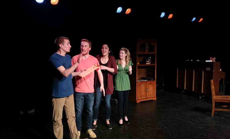 [title of show]  Fourth Wall Theater, Quinnipiac University 2016. From left; Louis Napolitano, Sean Davis, Gabby Cocca, Carleigh Peterson