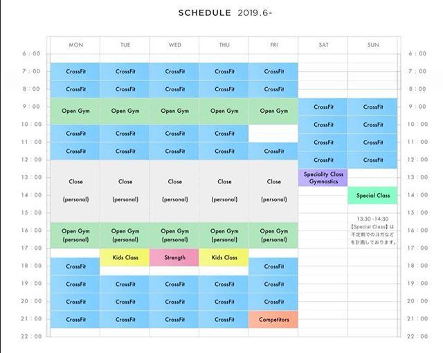 . 【6月からNew Class Scheduleをスタートします🔥】 English follows Japanese. . 6月1日から新しいClass Scheduleを開始します🎉 主な変更点は.... . ・メンバーからの要望が強かった、Gymnasticsに特化したクラスを土曜日に追加. . ・Strengthクラスの水曜日への移動. . ・金曜日20:30のクラスがcompetitorsのためのAdvance Class (※competitorになるためにはコーチに聞いてください). . ・日曜日の13:30より不定期でのヨガクラスなどの開催. . 上記画像で新しいスケジュールを確認お願いします!. . 夏も暑さに負けず頑張りましょう🏋️. . The class schedule will be renewed from June🎉 Check out the pic above to see what changes from the following month!. The main changes are: The 12:30 class on Saturday will solely be focusing on gymnastics.. . The strength class will be relocated to 17:30 on Wednesday.. . 20:30 will be an advance class for competitors.. . Lets get your fitness game to the next level this summer🏋️ .