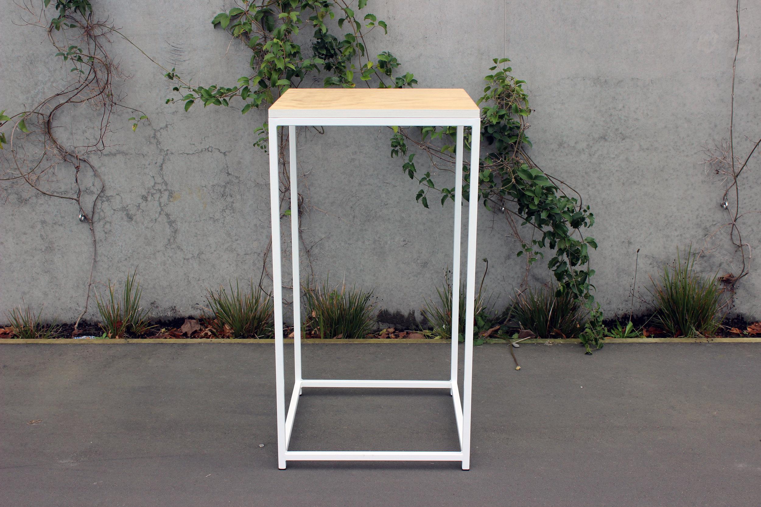 Square Ply Top Bar Tables - White - 60cm x 60cm x 1.1m highPOA
