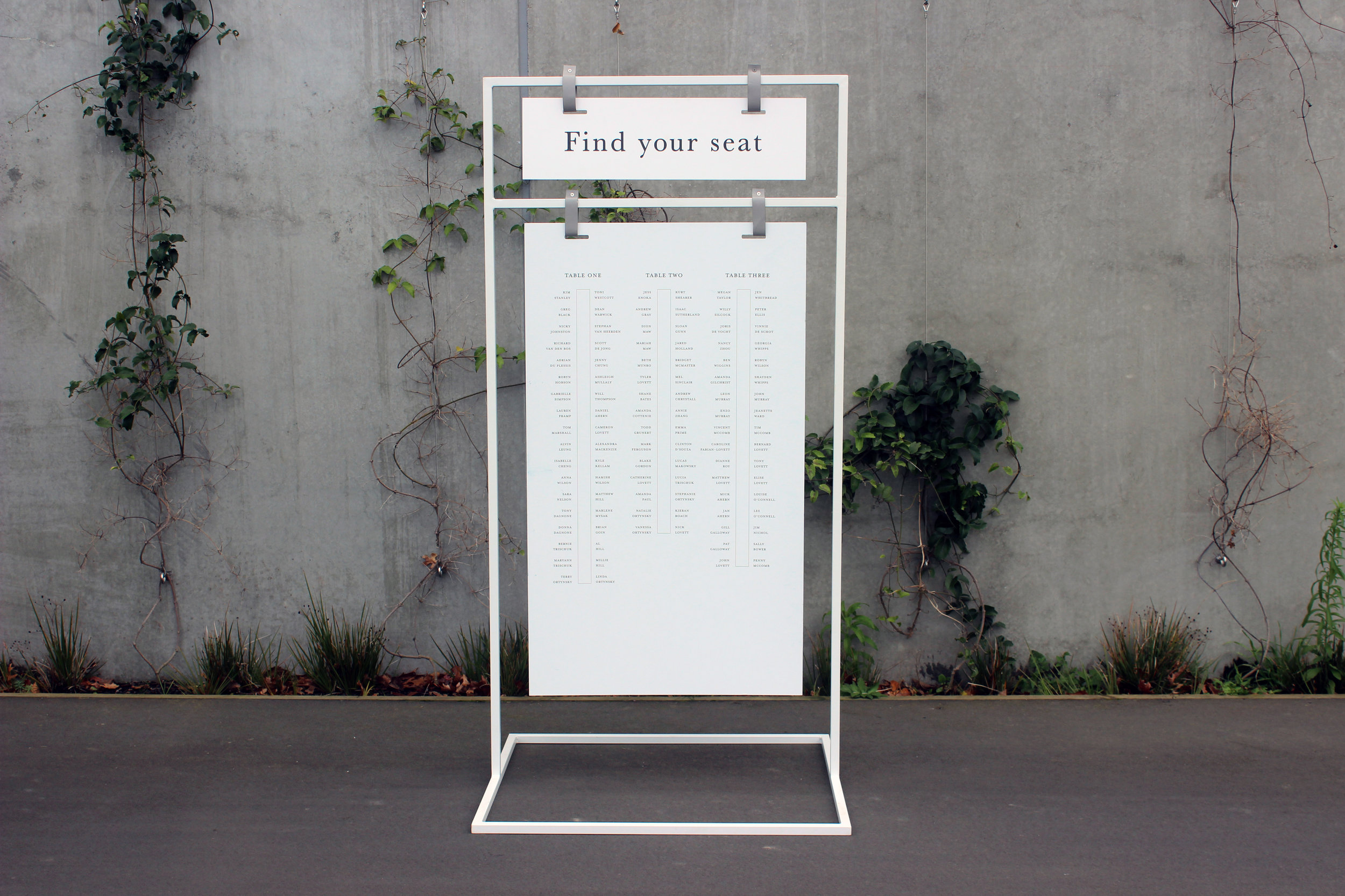 Large Signage Stand - White - 90cm wide x 1.8m highIncludes matte white acrylic, can be customisedPOA