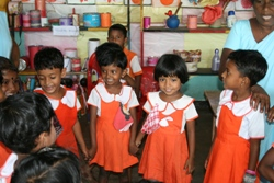 Children enjoying singing and dancing