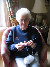 Olga Gibb knitting bonnets in the UK