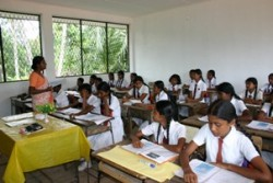 Classes in the new classrooms in the new classroom block