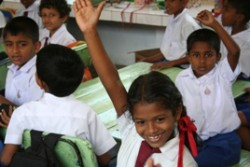 Children in their new classrooms