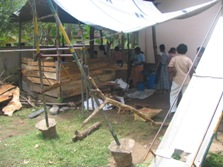 The original makeshift kitchen which was impossible to use when it rained