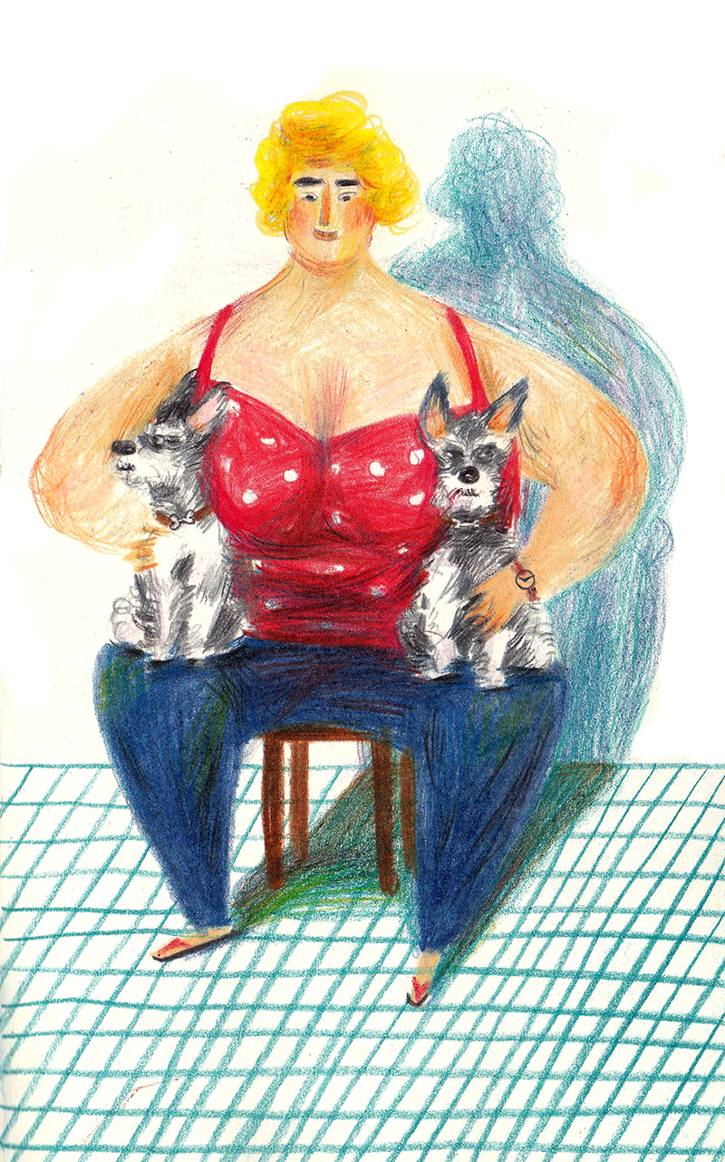 Fat Woman and Two Dogs.jpg