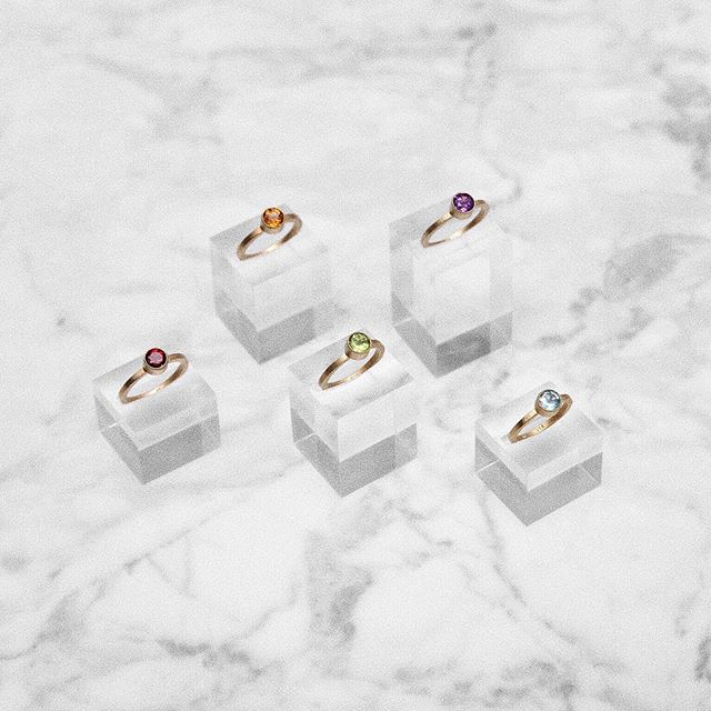 | Golden beauties ✨ GEMSTONE rings handcrafted of 24K gold plated sterling silver. Available with a Topaz, Peridot, Citrine, Amethyst and Garnet natural gemstone 🌈 #persuedecph #unisex #sterlingsilver #handcrafted