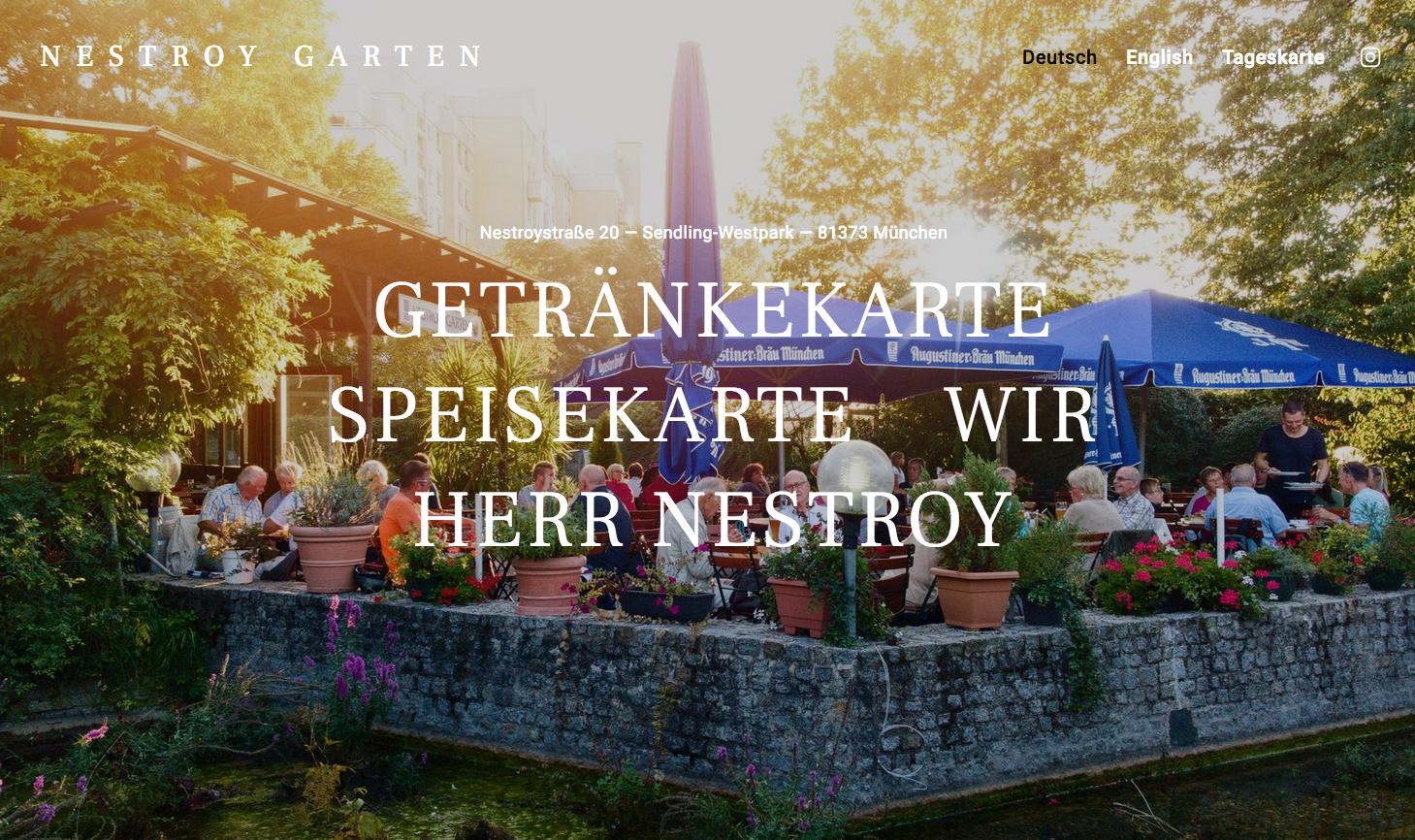 Nestroy Garten - Online & Offline-Auftritt - Kreativdirektion - Website Programmierung - Konzept - Text