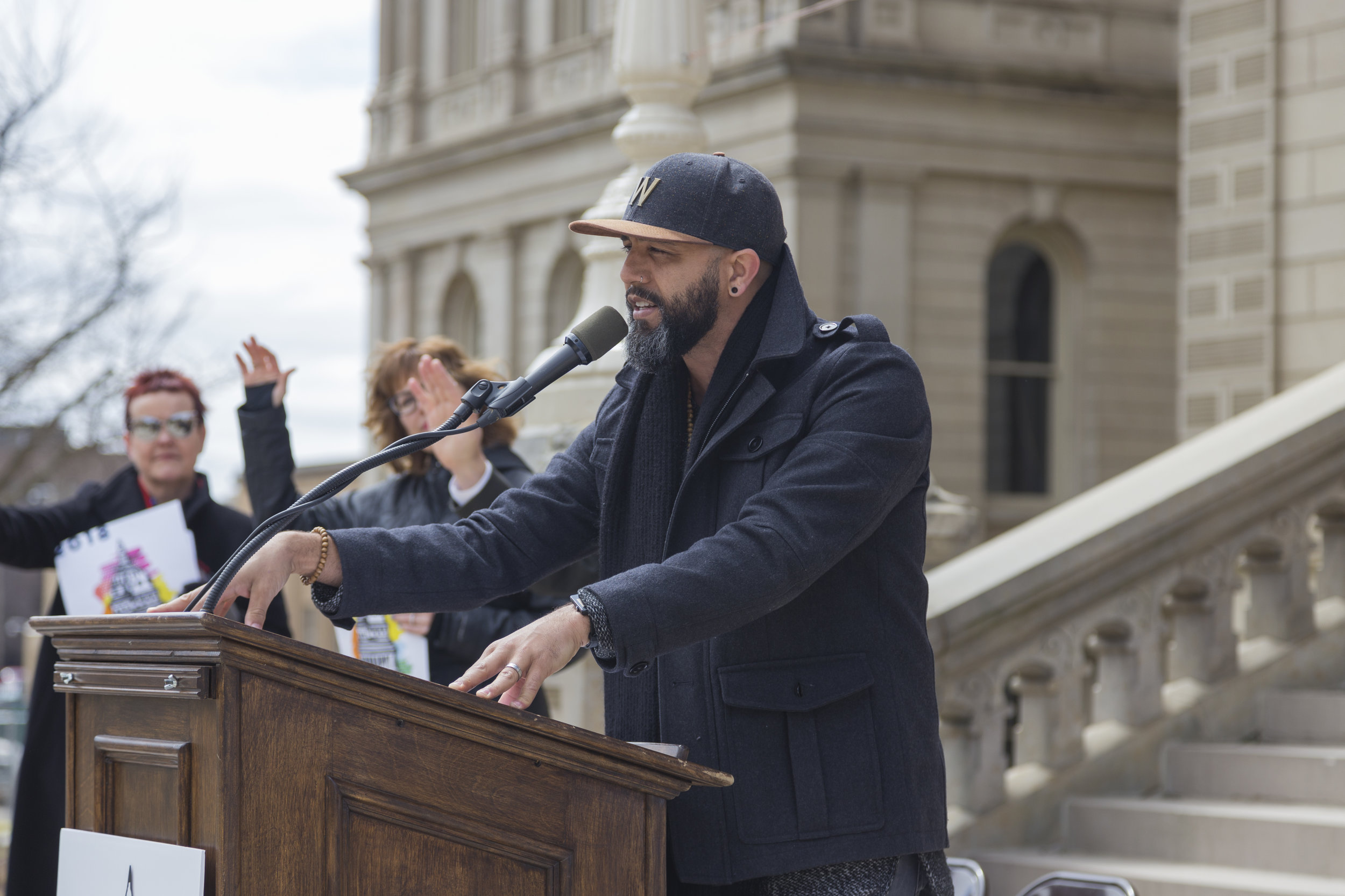 Ozay Moore, recording artist, at Arts Advocacy Day in Lansing, MI. Photo: Carbon Stories