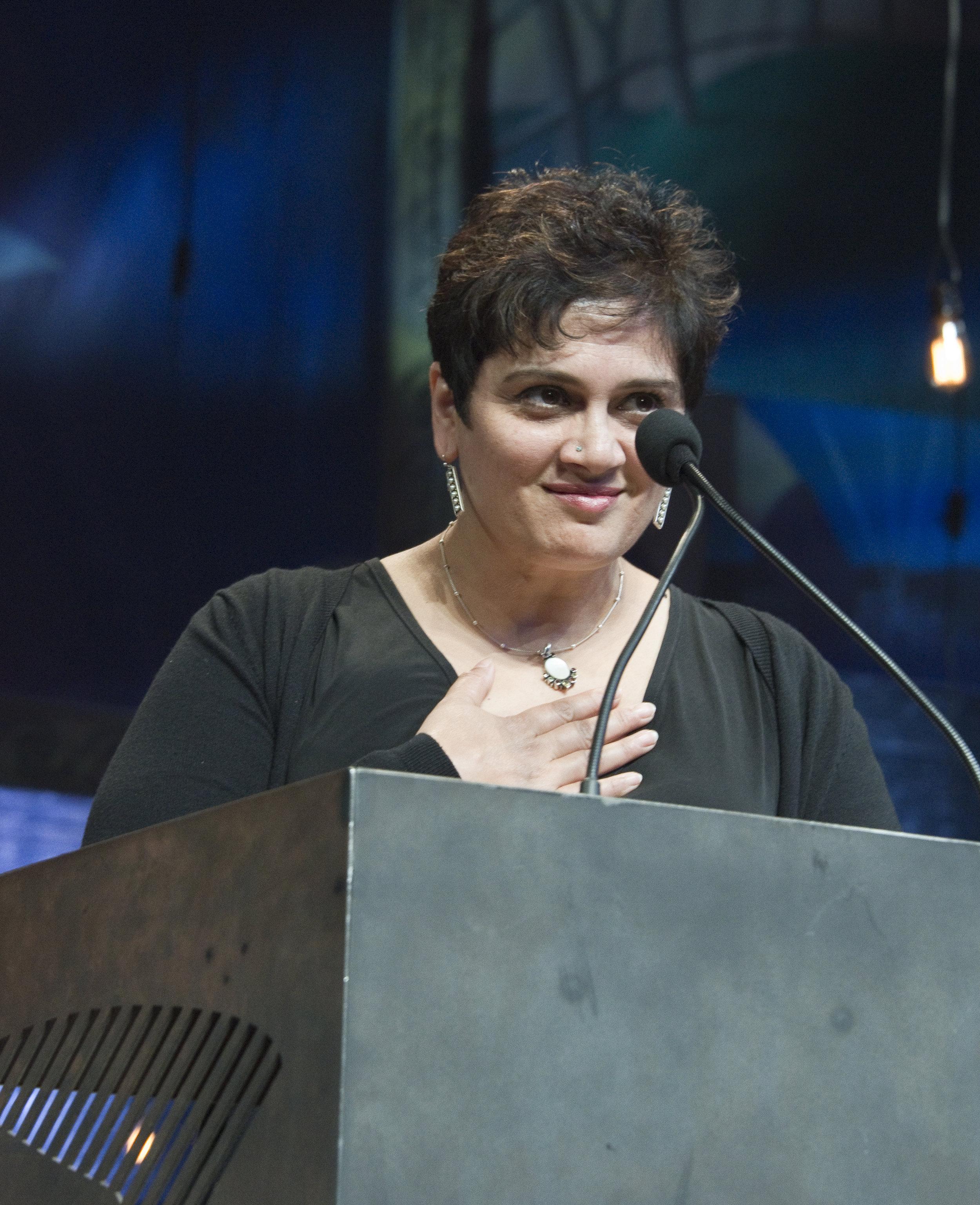 AP Awards Night stage Anila Quayyum Agha speech speaks winner public vote grand prize Theatre 2014_1.jpg