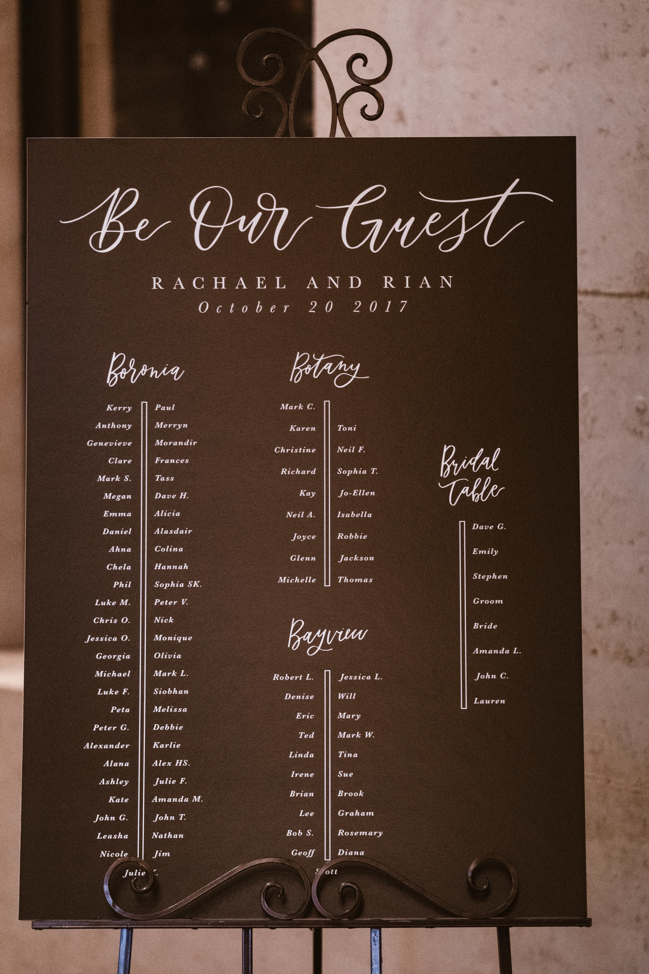 Light of Leni | Signage | Seating Chart