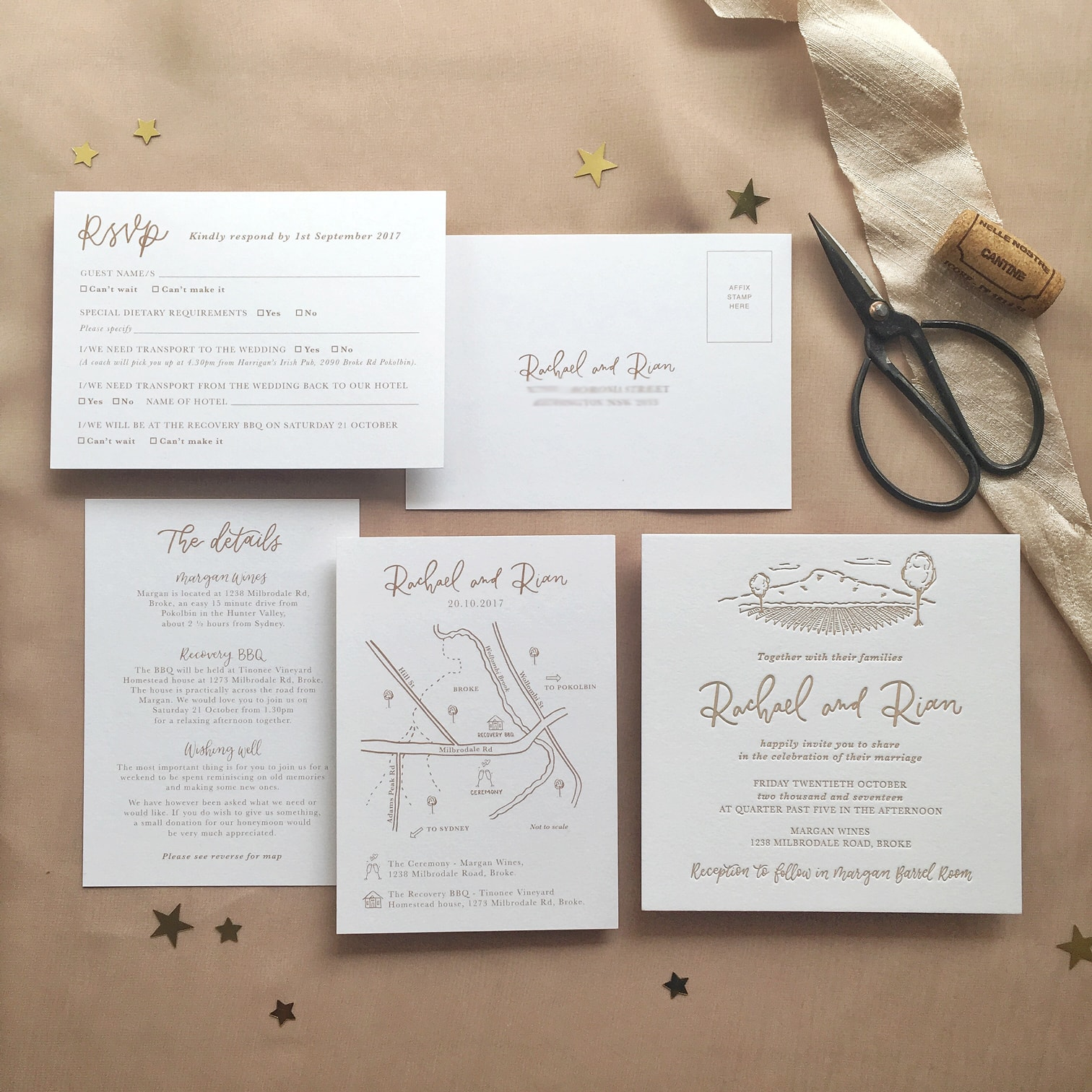 Light of Leni | Wedding Stationery Suite | Letter pressed with hand drawn details