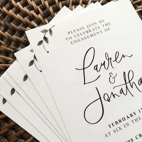 Light of Leni | Engagement Invitations | Digital print with hand lettered names