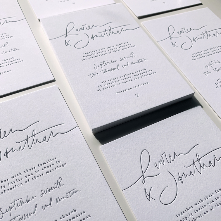 Light of Leni | Wedding Stationery Suite | Letter pressed with hand lettered details