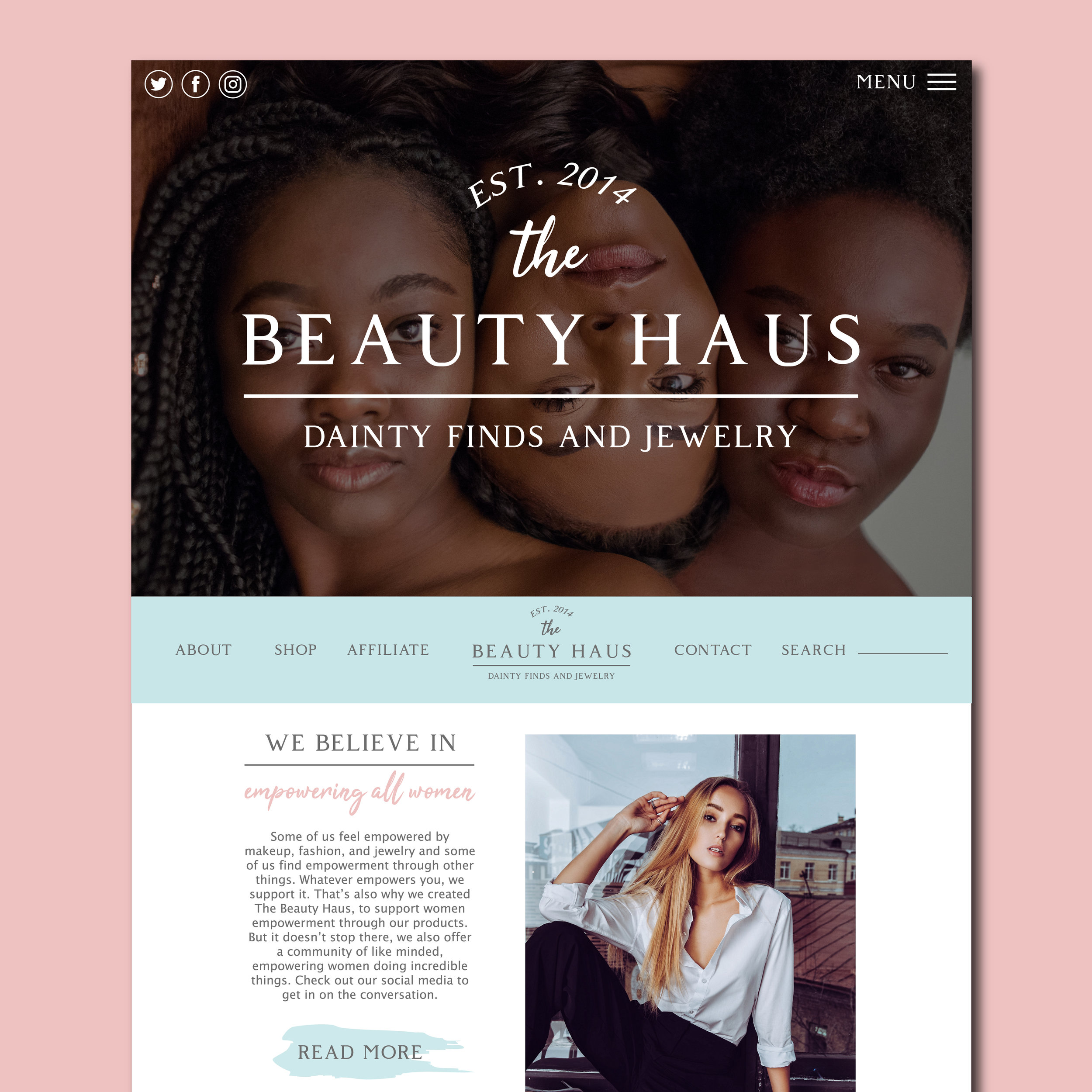 The BEAUTY HAUS Website Design by Kenzi Green Design #webdesign #websitedesigner #homepage