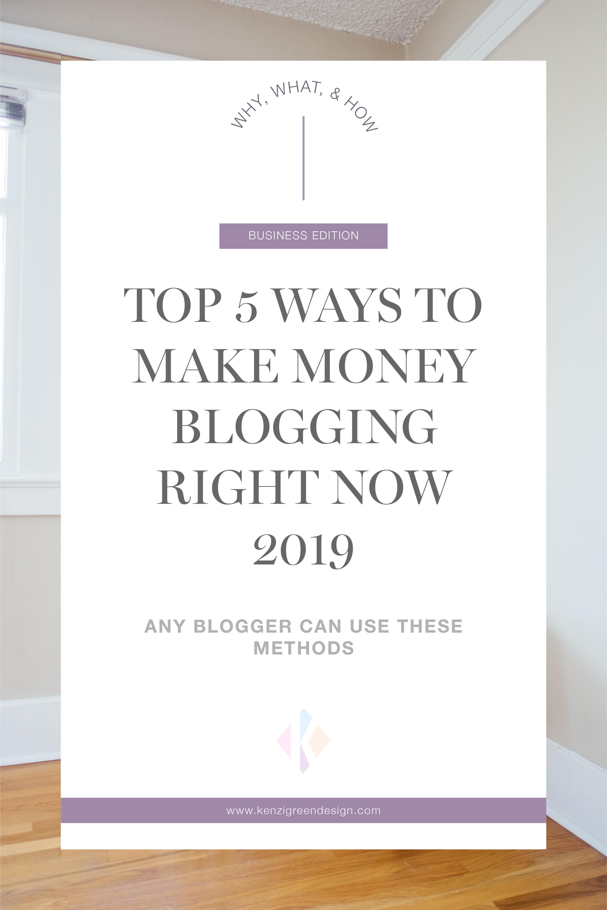Top 5 Ways To Make Money Blogging Right Now 2019 #moneyblog #makemoneyblogging #blogideas #monetize