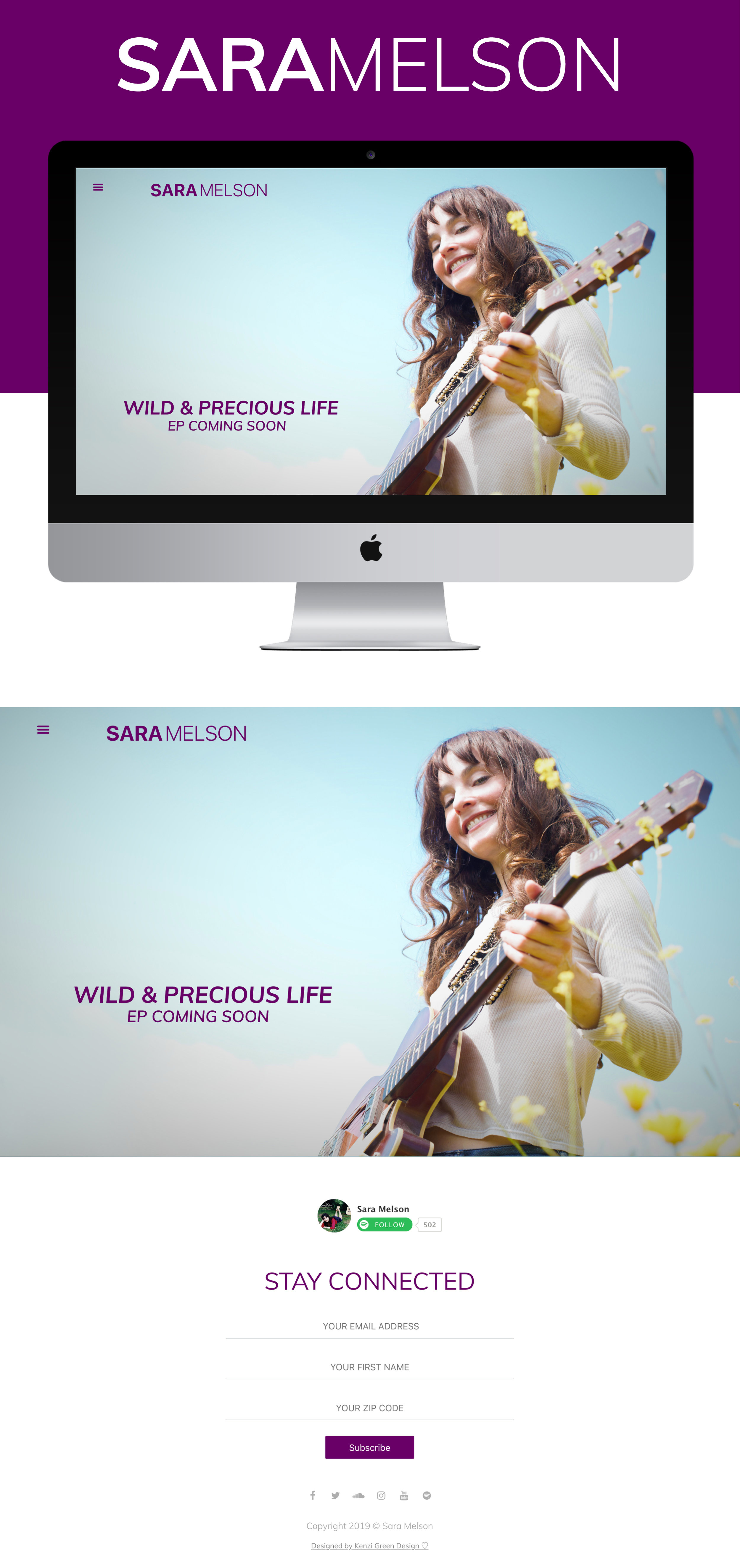 Sara Melson Website Design by Kenzi Green Design  #musicwebsite #musicartist #musicwebdesign #websitedesign