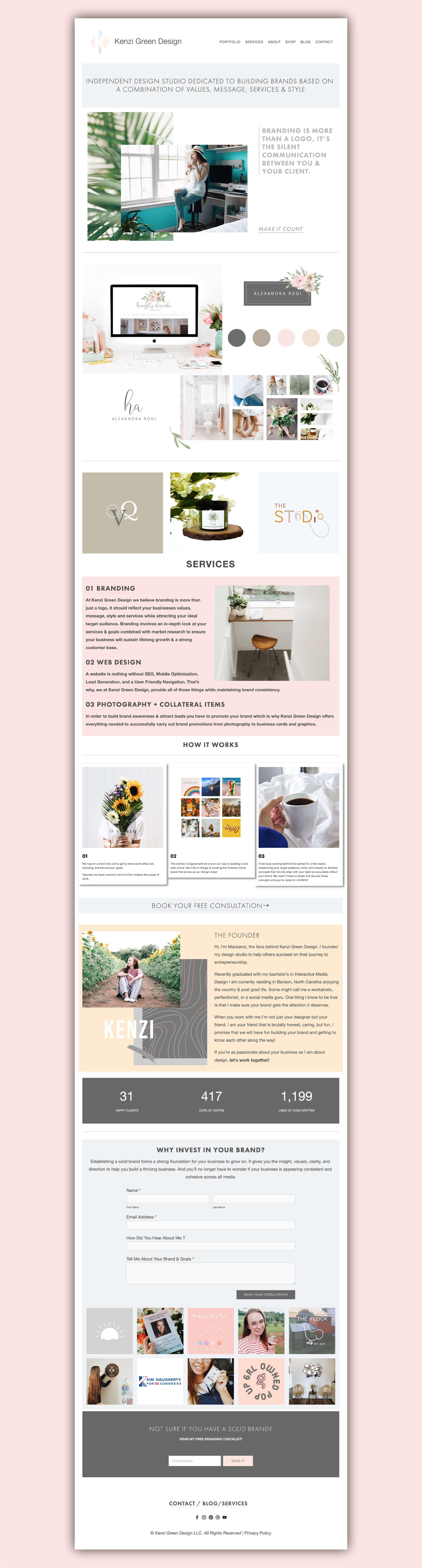 Kenzi Green Design studio website #websitedesign #designstudio #designerwebsite