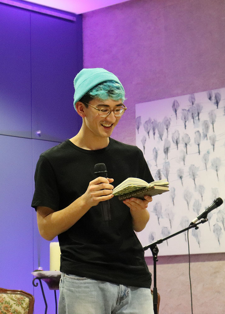 Taiyo reading some of his poems.