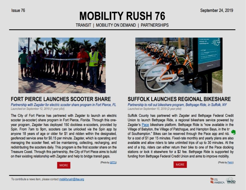 Mobility Rush  is a biweekly publication, produced with the support of the  Federal Transit Administration , that highlights the latest Mobility on Demand (MOD) partnerships.  Read archives and find out more  here .
