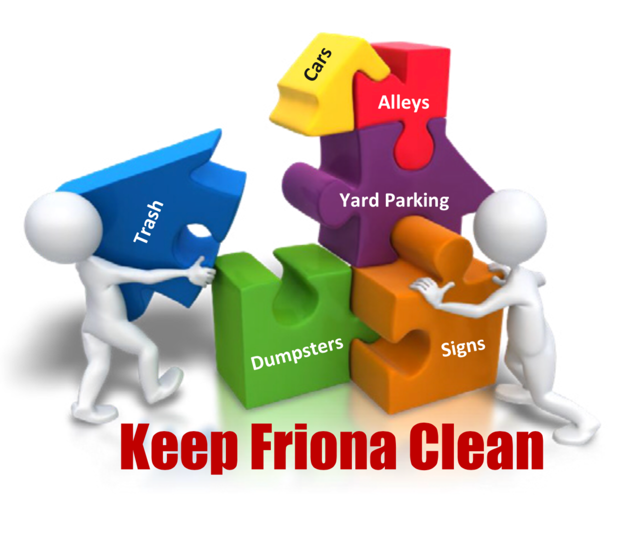 Keep Friona Clean CAMPAIGN  The Keep Friona Clean Campaign was created to remind residents of the importance of waste management and educate the general public about proper trash disposal, sustainability, and how to get involved with eliminating waste in yards, alleys, and around dumpsters.