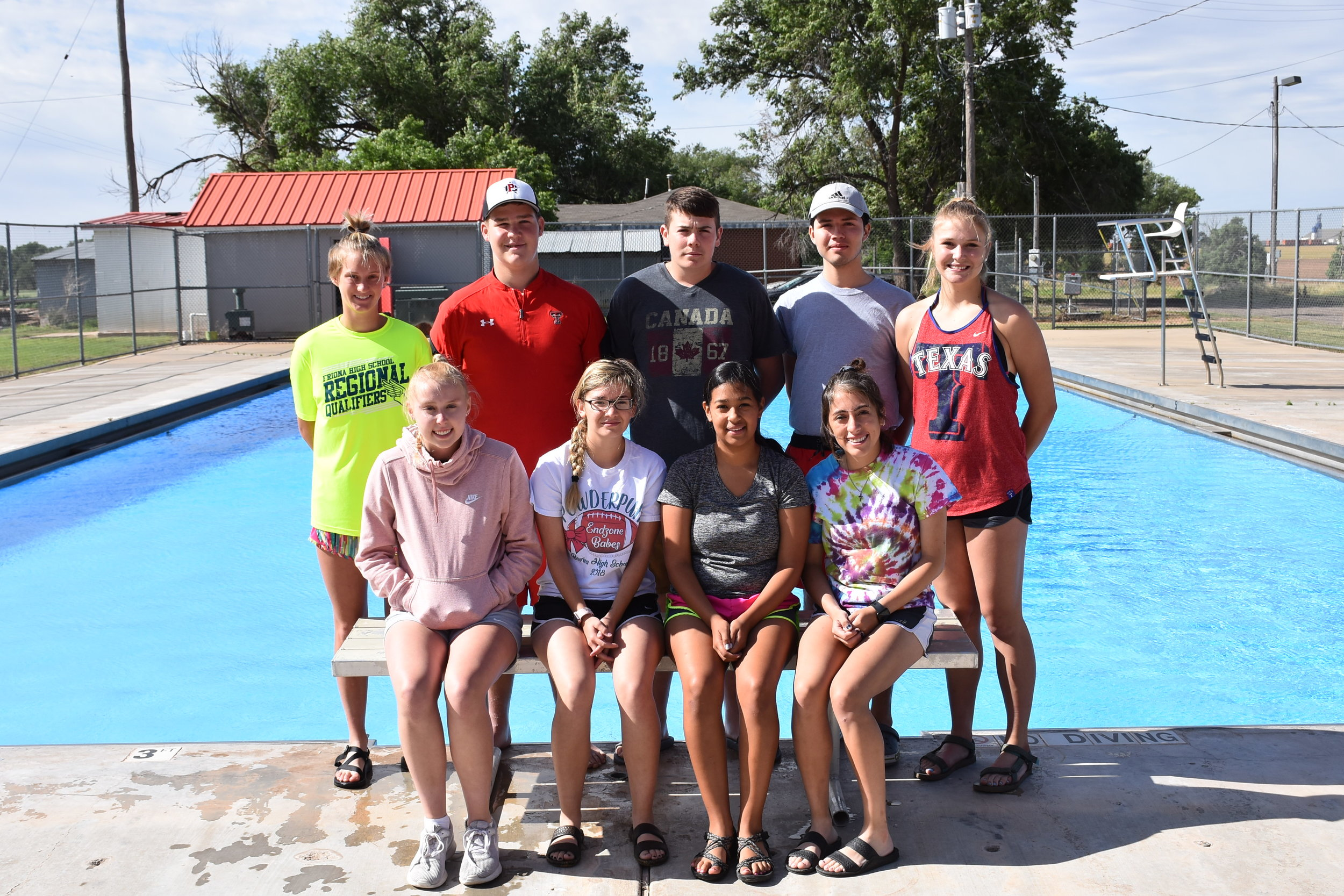 Front Row : Kambree Kimbrough, MaKenze Bonham, Gabbie Medrano, and Pool Manager Rickie Castillo   Back Row : Jodie Denton, Andrew Husted, Anthony Abarca, Pool Assistant Manager Angel Mills, and Carly Drake