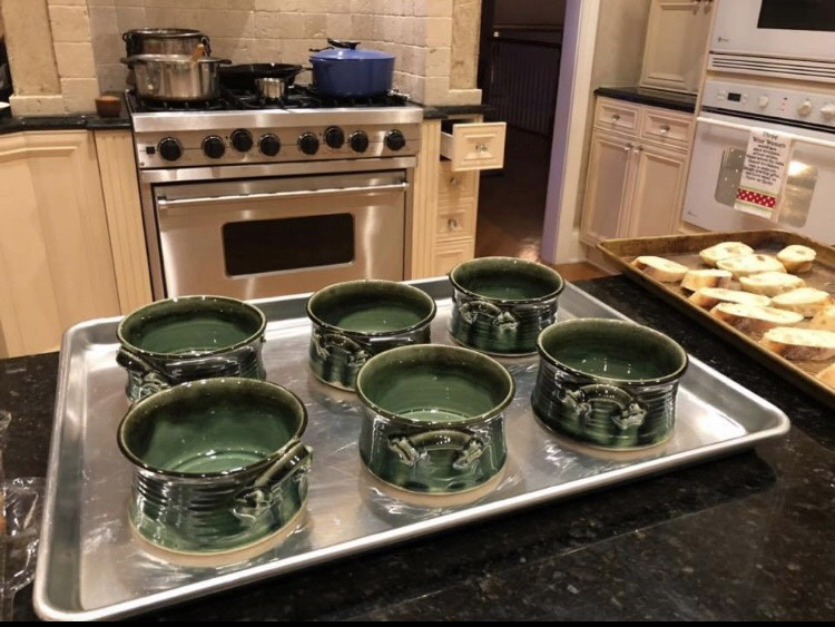 Mike in Ohio Writes - This year my friend Scott Kaye leaves the tech world and turns his love of pottery into a business. I asked him for 6 bowls for our Christmas Eve and this is the result.Finally we have something worthy to put Mimi's soup in. Thanks Scott! You're at the table every Christmas Eve from out.