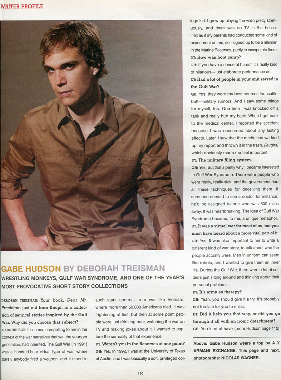 Deborah Treisman interviews Gabe - Interview Magazine