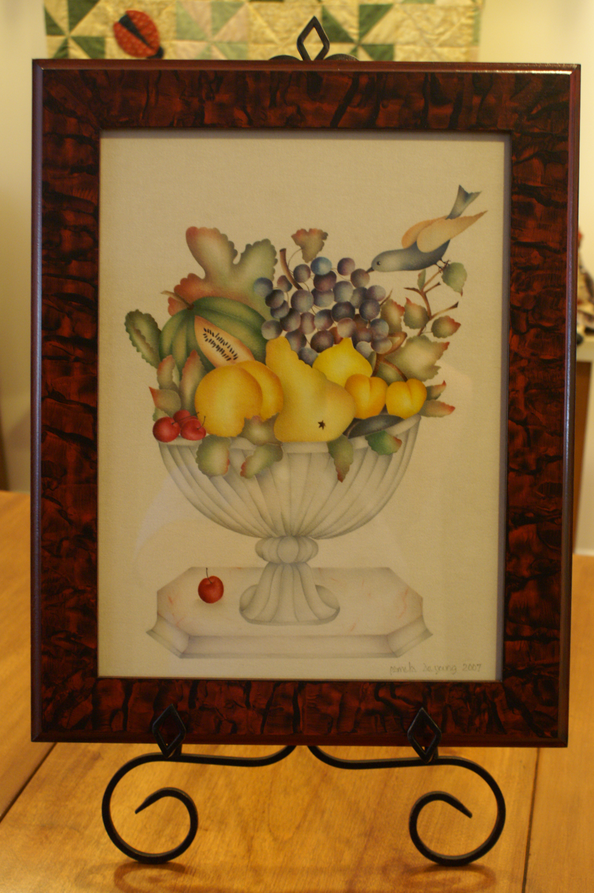 12x16 compote with bird and fruit #23 -$395..jpg
