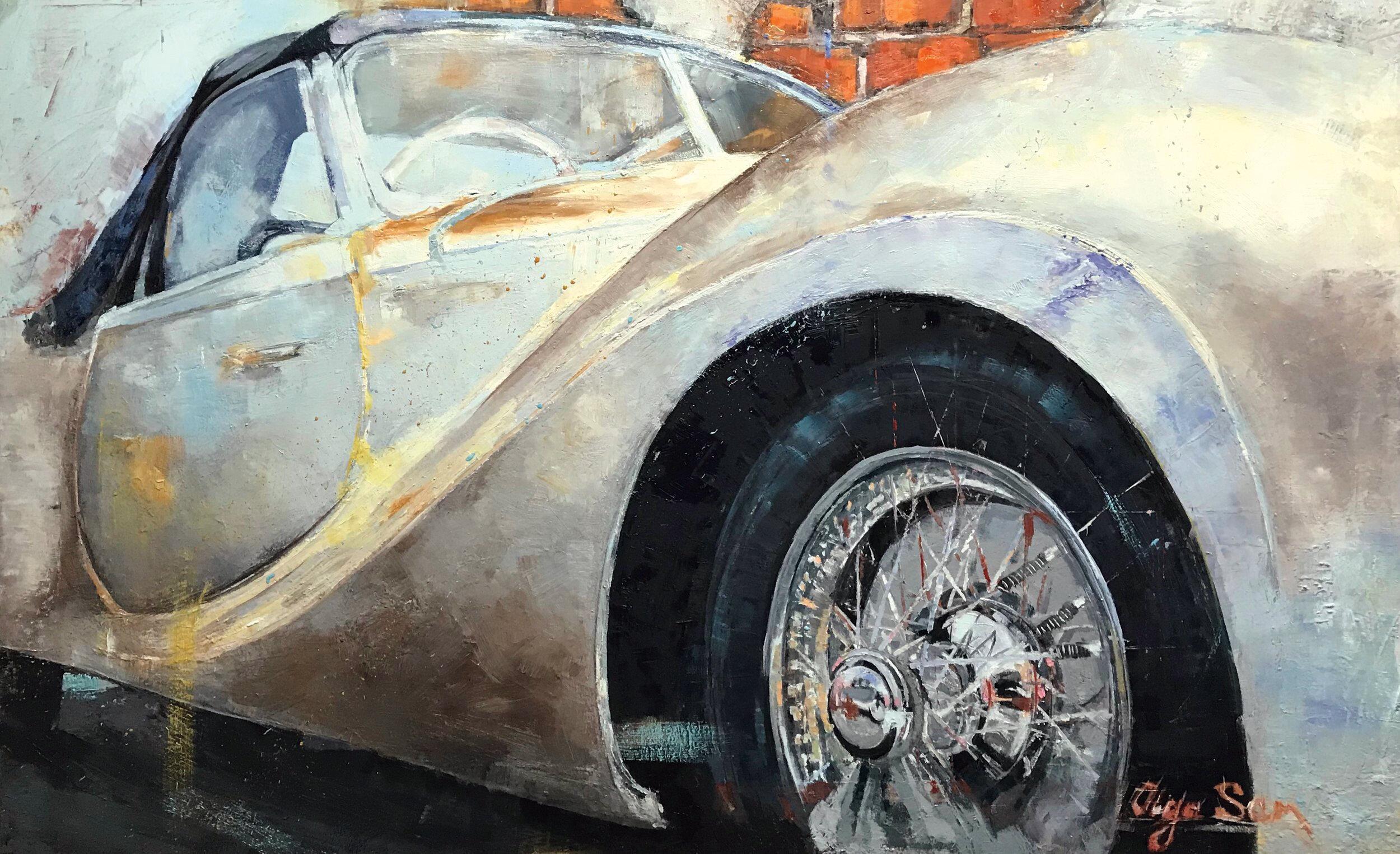 "DELAHAYA 235, 40"" x 64"", oil/canvas. 2018"