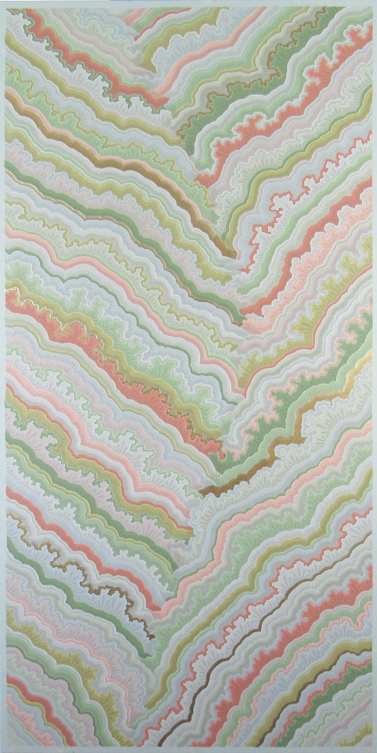 Plate 64 , 2017, 24x48, acrylic on canvas. available through  Atlanta Artist Collective ..